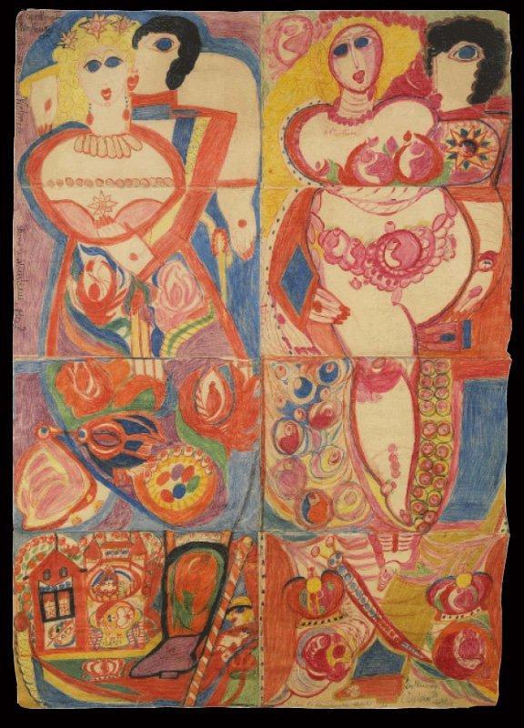 769 Aloïse  Napoléon III à Cherbourg, entre 1952 et 1954   crayon de couleur & suc de géranium sur feuilles de apier coussues ensemble 164x117 cm 3.jpg