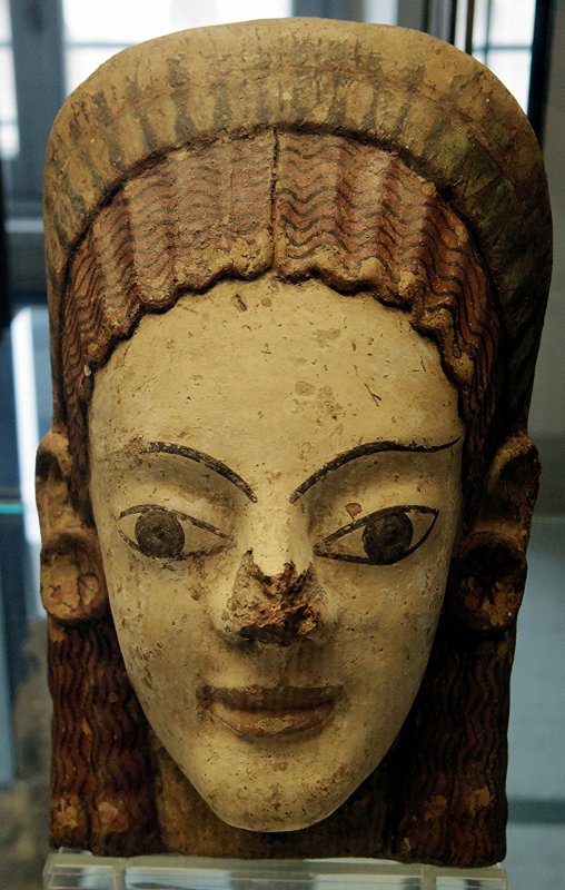 718 art étrusque Antéfixe à figure féminine vers 500 av. J.-C. Provenance  Cerveteri,.jpg