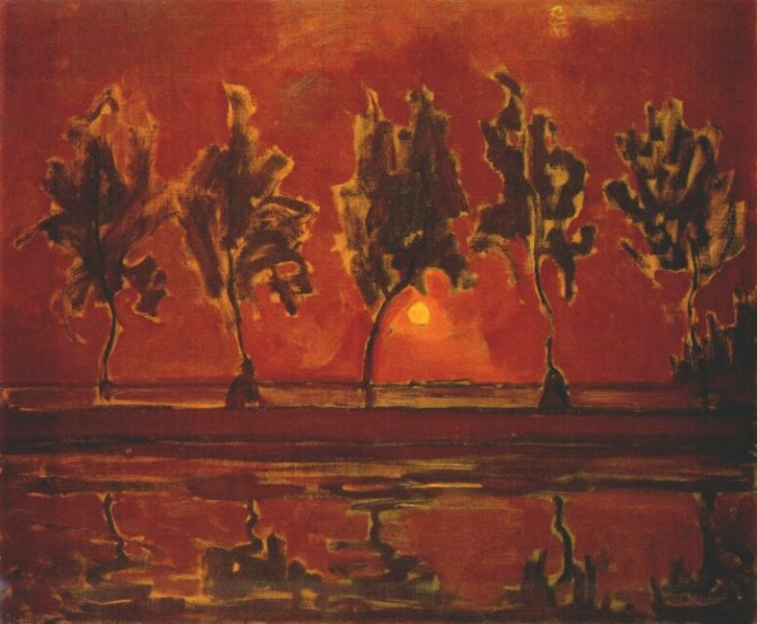 + 2142 Piet Mondrian   trees by the Gein at moonrise - 1908.jpg