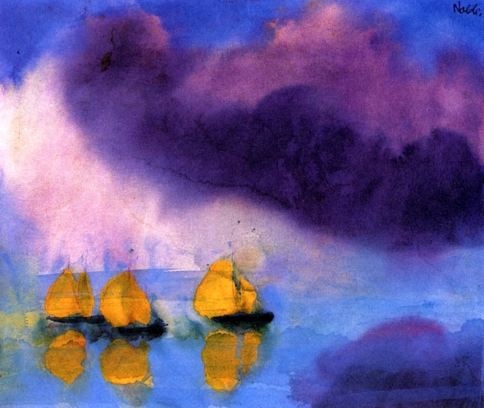 +Emil Nolde – 1946 Sea with Violet Clouds and Three Yellow Sailboats.jpg