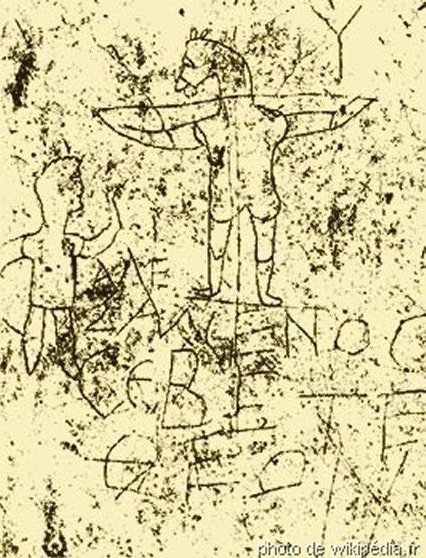 866 culture romaine IIème siècle,  âne crucifié avec pour commentaire « Alexamenos respecte Dieu », suggérant que ce dessin raille un soldat converti)..jpg