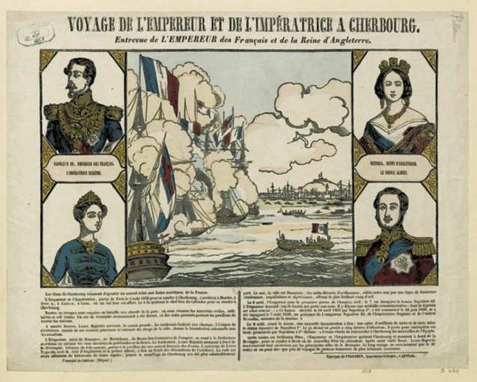769 Éditeur Pellerin Voyage de l'Empereur et de l'Impératrice à Cherbourg  Entrevue de l'Empereur des Français et de la Reine d'Angleterre 1858  estampe.jpg