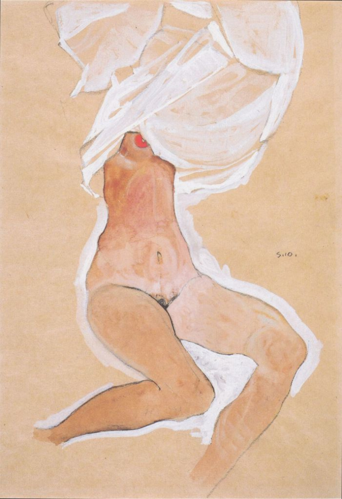 +Egon Schiele Nude Girl Sitting With Shirt Over Her Head by Egon Schiele.jpg
