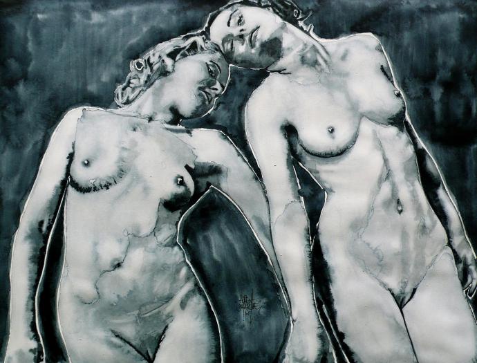 +1172 Florent Dutarque, « Nus Au Tête à Tête », aquarelle sur papier (45,6 x 34,4 cm), 2011.jpg