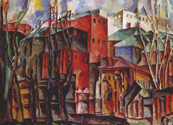 +2365 Aristarkh Lentulov  Landscape with Dry Trees and Tall Buildings (1920).jpg