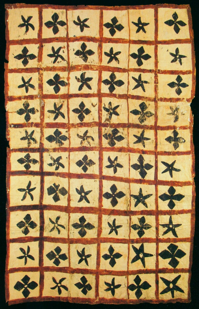 +40art samoan  Samoan Islands. Tapa subdivided into sixty square containing floral motifs with four or five petals. Beaten bark. 100 x 170 cm..jpg