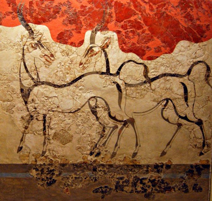 738 Les Oryx ou les Antilopes vers 1500 av. notre ère  Maison de l'île de Théra  Santorin.jpg