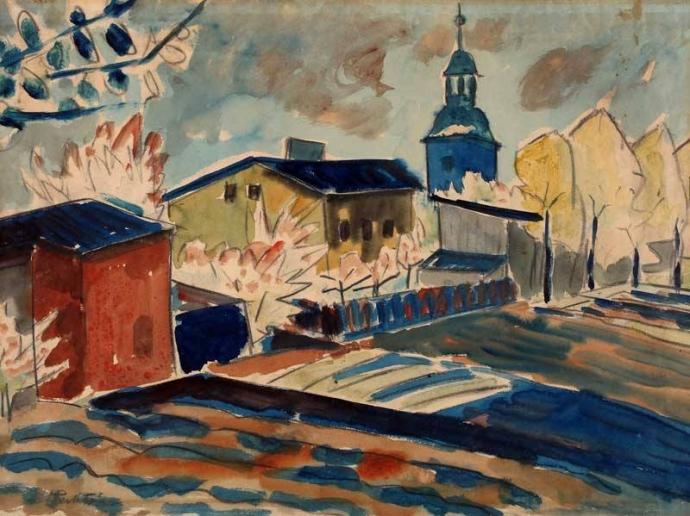 + 2806 Max Pechstein  House with Gardens in Leba (Häuser Mit Gärten in Leba), 1921.jpg
