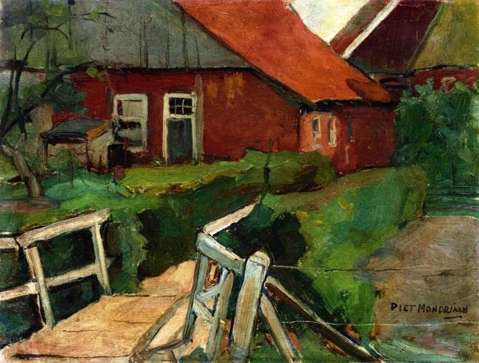 + 2806 Piet Mondrian - Earlier Work  Farm Building with Bridge (c. 1909).jpg