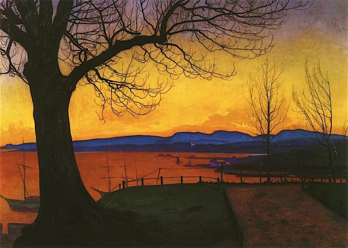 +5Harald Sohlberg - Evening, Akershus 1913.jpeg