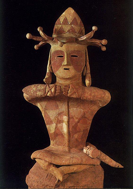 "+2621b Haniwa terracotta clay figure. ""The man who wears the crown"". The Kofun period art (250-500 AD). Fukushima, Japan..jpg"