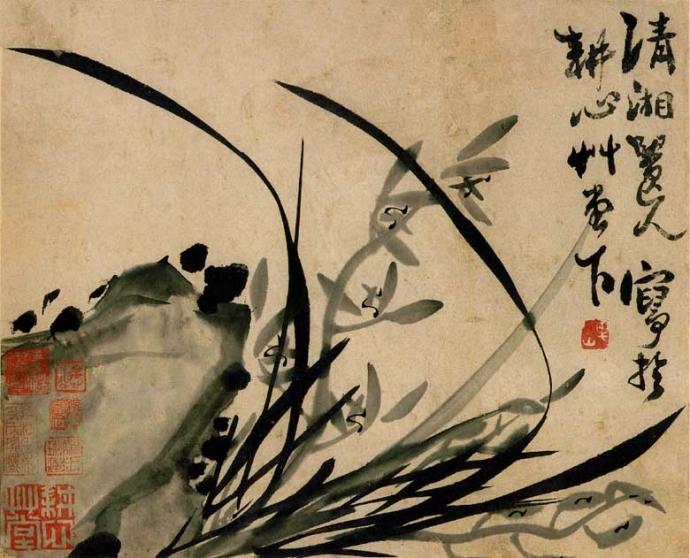 Shitao Orchidées et Rochers vers 1700.jpg