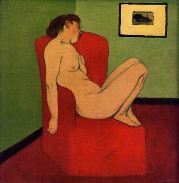 +729 Félix Vallotton 1897 Femme nue assise dans un Fauteuil rouge.jpg