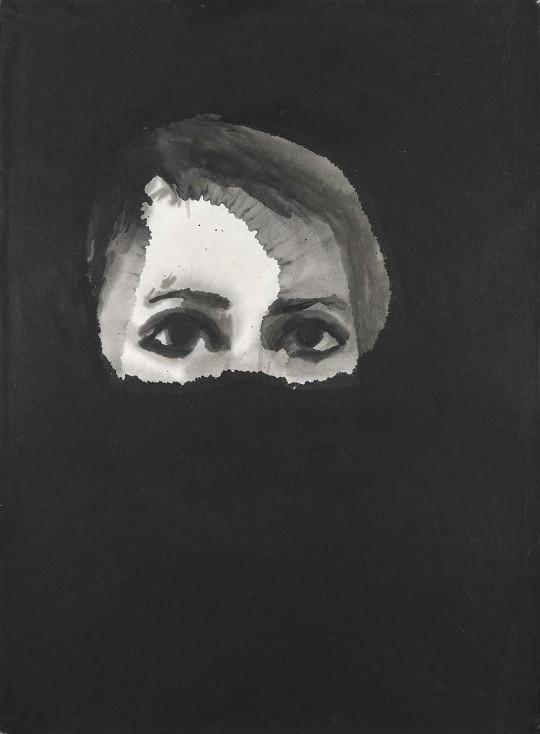 ++ Claire Tabouret, Autoportrait du 5 janvier 2013. encre de Chine sur papier de riz – 49 x 33 cm.jpg