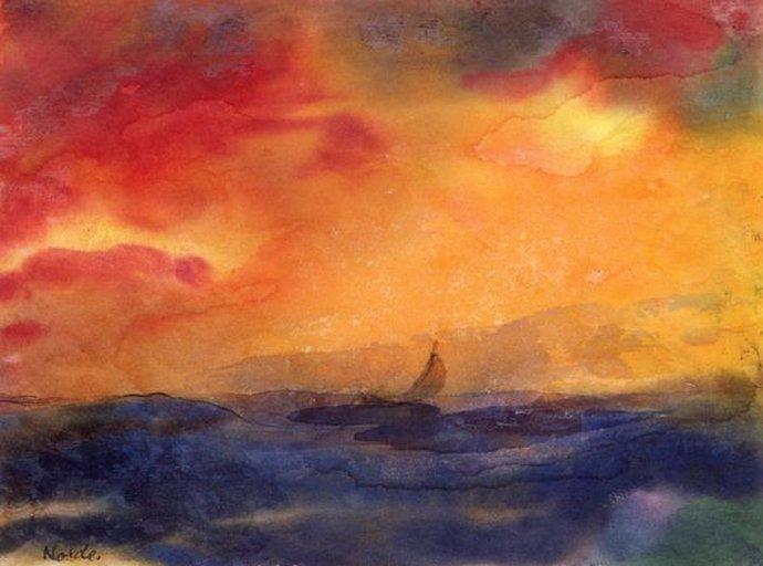 +1607 Emil Nolde Seascape with Sailboat.jpg