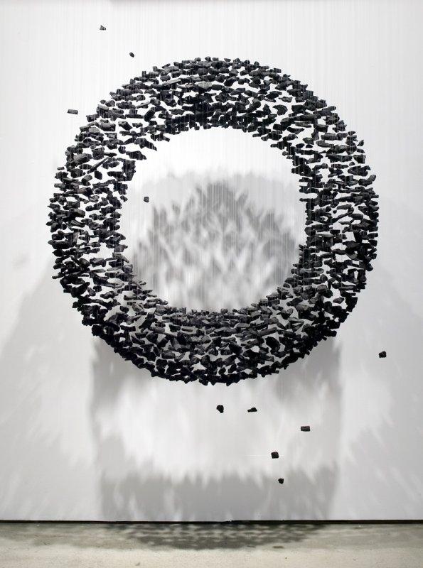 +623 Bahk Seon-Ghi Charcoal, nylon threads, Installation 2, 2012.jpg